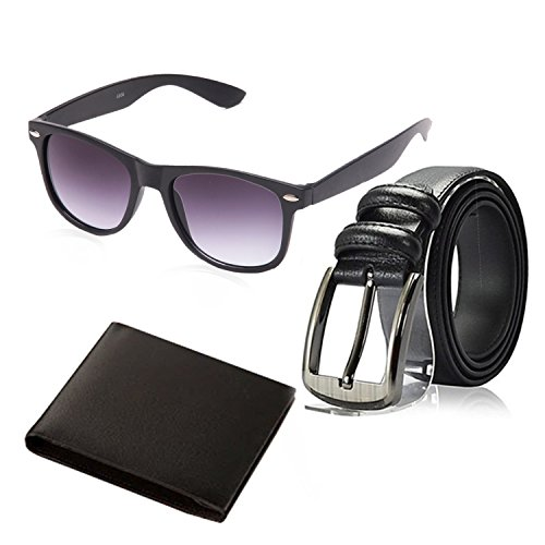 Random 12C Mens Belt, Wallet and Black Wayfarer Sunglass Combo (Black)(9WFWLBT)