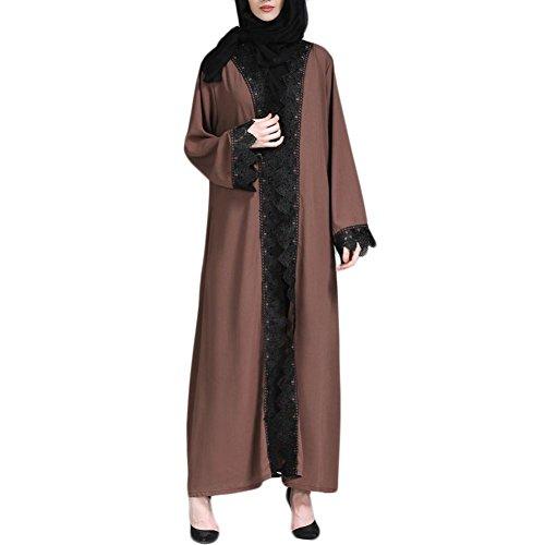 Amphia Abaya Dubai Kleider für Frauen islamischen Kleid Islamische Kleidung muslimische Kaftan Rayon Gewand (Kaffee, XL)