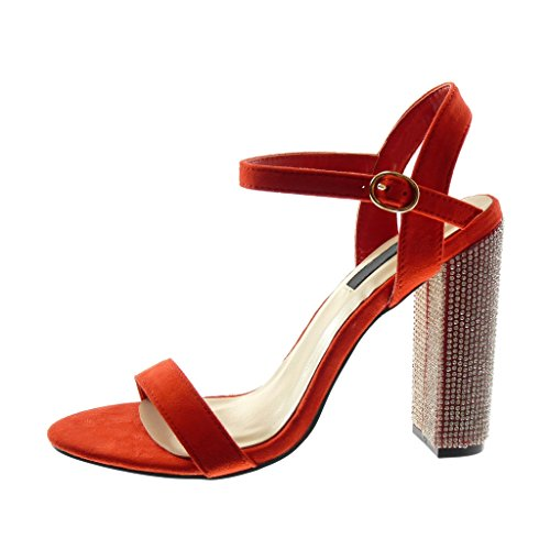 Angkorly Chaussure Mode Sandale Escarpin Lanière Cheville Femme Strass Diamant Lanière Talon Haut Bloc 12 CM Rouge