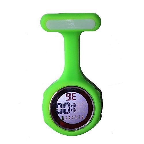 Ellemka Schwesternuhr FOB Digitale Anzeige Quarz Uhrwerk Silikon Hängeband - JCM-330 Hellgrün Geschenkbox