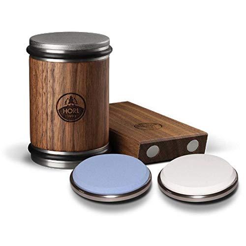 HORL Rollschleifer Nussbaum Komplettset inkl. Premiumschärfepaket Edelkorund Schleifscheibe Messerschärfer (Messer Magnet Holz)