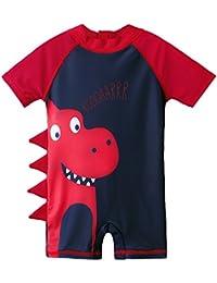 bb2536891979 HUAANIUE Baby Boys Swimsuit Short Sleeve One Piece Swimwear Zip Rash Guard  Sun Protection Wetsuit UPF