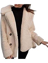 DEELIN Femmes Casual Mode Hiver Chaud Veste Outwear Dames Revers Couleur  Unie Artificielle Manteau en Laine 91660a0dd95a