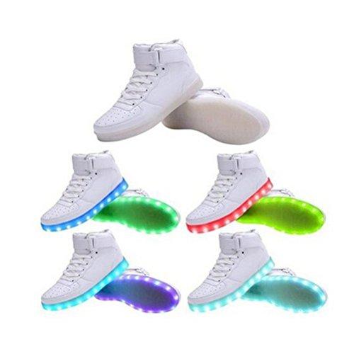 [Présents:petite serviette]JUNGLEST® de Couleur Mode Hith-Top Unisexe Homme Femme USB Charge LED Lumière Lumineux Clignotants Chaussures d Blanc