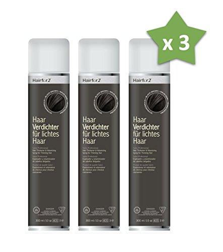 3 x Hairfor2 300 ml. Haarverdichter Spray Streuhaar Schütthaar Microhairs Hair Fiber, Farbe:Schwarz