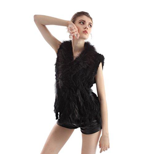 OLLEBOBO Vera Pelliccia Gilet Donna Coniglio Fur Frange Sleeveless Corta Nuova Nero
