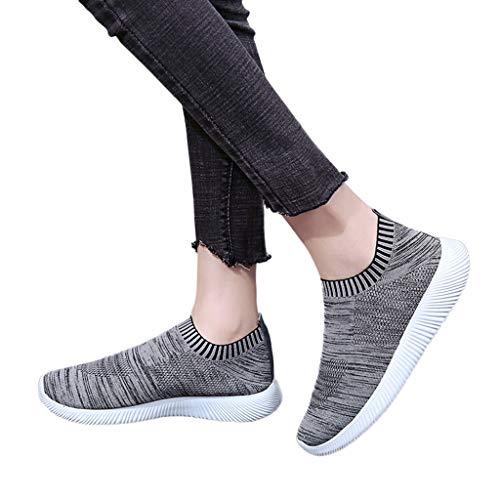 Mymyguoe Damen Atmungsaktiv Running Turnschuhe weich Sohle Slip-On Sportschuhe Damen Mode Schlüpfen Gemütlich Einzelne Schuhe Leichte Wanderschuhe Sommerschuhe Bequem Sneaker Casual Loafers