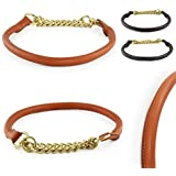 Training-Line von Pear Tannery: Retriever-Hundehalsband aus weichem Vollrindleder, rund, XXXS 23-25cm, hellbraun