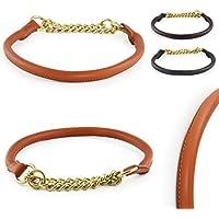 [Gesponsert]Training-Line von Pear Tannery: Retriever-Hundehalsband aus weichem Vollrindleder, rund, XL 58-60cm, hellbraun