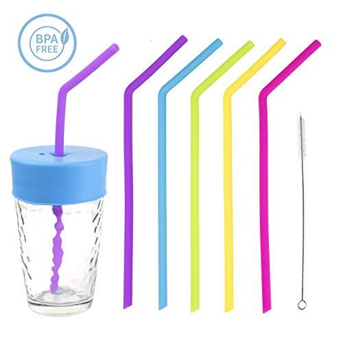 Trinkhalme, Silikonhalme, Trinkhalm Wiederverwendbar Silikon halme, BPA freies 6 Stück mit 1 Reinigungsbürste und 1 Silikon-Strohhalm auslaufsicher Reisebecher-Deckel