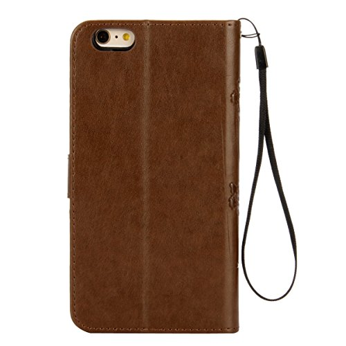 ISAKEN Custodia iPhone 6 Plus, Cover iPhone 6S Plus, Elegante borsa Custodia in Pelle Protettiva Flip Portafoglio Case Cover per Apple iPhone 6 Plus (6 5.5) / con Supporto di Stand / Carte Slot / Chi marrone chiaro