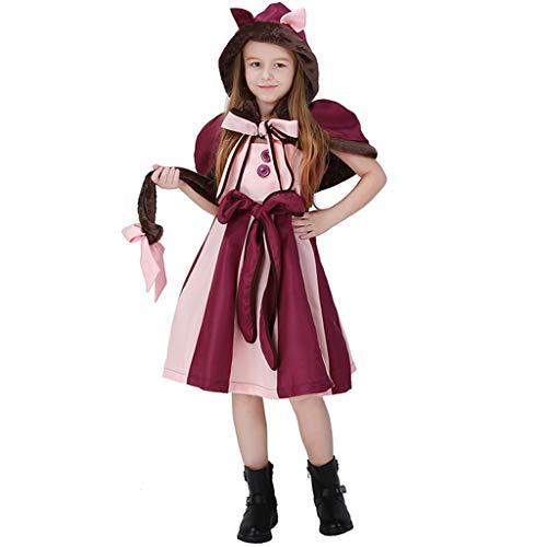 CJJC Kinder Cosplay Kostüm, Kreative Mädchen Lächeln Katze Fantasie Mit Kapuze Kleid Mit Bowknot Decor Für Festival Party Verwenden, Lila L (Fantasy Braut Kostüm)