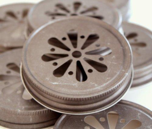 Pewter Daisy Cut Lids for Mason Jars, 12 Count by Custom Party Shop (Mason Jar Lids-daisy)