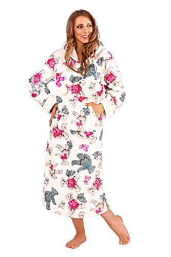Donna Morbido Pile Orsacchiotto Stampa Cappuccio Camicia Da Notte Orsetto Rosa Camicia Da Notte