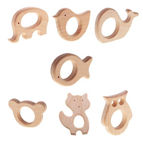 Baoblaze 7pcs Natürliche Holz Schöne Tier Baby Kinder Form Beißring, Dusche Spielzeug ,DIY Farbe Perlen Anhänger