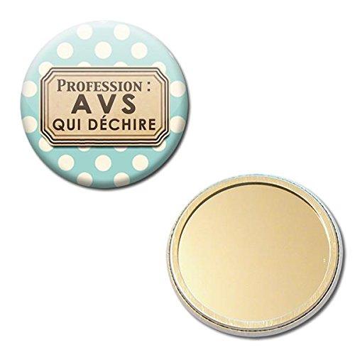 Profession AVS qui déchire Miroir de poche 56mm ( Idée Cadeau École Fin année scolaire Noël Anniversaire )