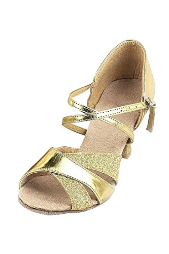 TOOGOO Chaussures de Danse Latine Chaussures de Danse Sexy Pour les Femmes Chaussures de Danse Brillant Pour Latin Salsa Tango - 38 Or