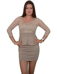 GIOVANI & RICCHI Damen Kleid Spitzenkleid One Size Einheits Groesse Mix Grün, Rot, Rosa, Schwarz, Navy, Blau, Braun, Beige