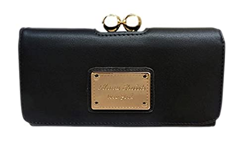 Girly HandBags New Faux Leather Purse Wallet Ball Clasp Gold Logo Designer Vintage Colors -- Black