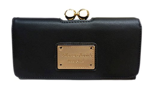- 412TJn22pyL - Girly HandBags New Faux Leather Purse Wallet Ball Clasp Gold Logo Designer Vintage Colors — Black