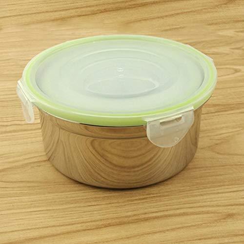 QueenHome 3 Stück Edelstahl Frischhalte-Crisper mit Deckel, Rührschüssel transparent Konservierungsbox Schüssel Brotdose