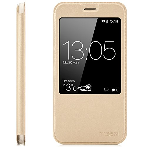 zanasta Tasche kompatibel mit Huawei GX8 (G8) RIO-L01 / RIO-L11 Case Schutzhülle Flip View Cover mit Fenster und Kameraschutz   Gold