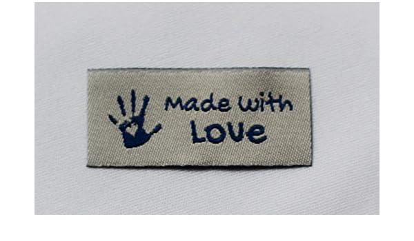 Sylter N/ähkultur 10 Made with Love Labels Webband Aufn/ähetiketten Einn/ähetiketten Kleideretiketten Hellblau-Weiss