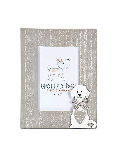 SPOTTED DOG GIFT COMPANY Marco de Fotos de Madera Retrato 10 x 15 cm portafotos Color Gris Decorado con Perro, de pie o para Colgar en Pared Regalo para Amante de los Perros Photo Picture