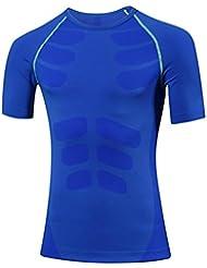 los deportes de los hombres y de entrenamiento físico corren apretado compresión elástica que absorbe la camiseta del vestido de la camiseta 6003 , blue , l