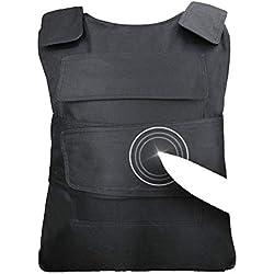 Vetements Stab Resistant Gilet Sécurité Armée Tactique Vest Equipement de Protection Défense du Corps Protection du Dos de la Poitrine avec Haute Armure d'acier de manganèse Noir