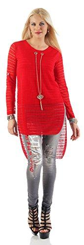 Mr. Shine - Damen Langarm Vokuhila Bluse Hemd Shirt Sweatshirt Oberteil Tops Inkl. Kette In Größe S, M, L, XL, XXL Rot