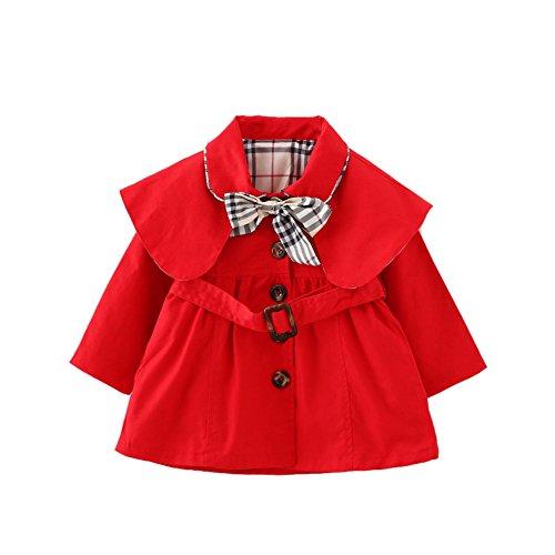 [Mantel für Baby]Baumwolle Winterjacke Herbst Jacke Baby Mädchen Trenchcoat mit Gürtel Mantel Outerwear-RD-S