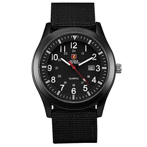 KZKR Herren Uhr Analog Quarzwerk mit Nylon Armband Schwarz Datum W495