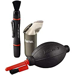 """Hama Kit de nettoyage photo """"Optic Dry Basic (avec stylo de nettoyage Lenspen, chiffon de nettoyage en microfibre, soufflerie avec embout brosse, 3 pièces) Noir/Rouge/Gris"""