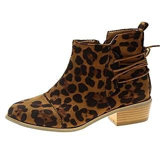 Cooljun Winterstiefel Damen Stiefeletten Stiefel Frauen Leopard Muster Wildleder Martin Stiefel Schuhe Winter Kurze Stiefel Schlupfstiefel