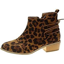 MYMYG Botines Tacón cuña Plataforma Leopardo para Mujer Otoño Invierno Black Friday Botas de Cuero Botines Black Friday con Cremallera Casual Zapatos Piel con Cordones Señora Calzado Tacón Altas Dama