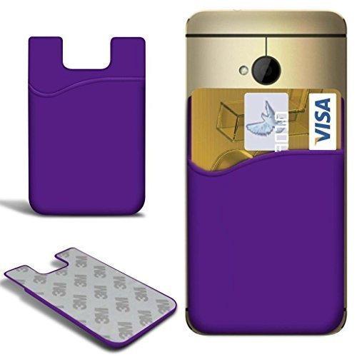 N4U Online® Alcatel One Touch Evolve 2 Slim Silicone Stick On Credit/Debit  Card Slot Skin Case Cover - Purple