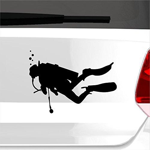 eDesign24 Aufkleber Taucher Diver Schnorcheln Tauchen Wasser Water See Meer Sticker Tauchsport ca. 15 x 11 cm schwarz