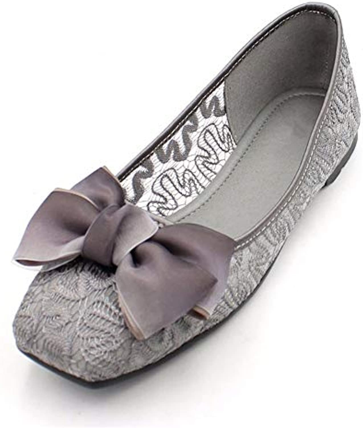 60eee6dbef6a FLYRCX Fashion sweet bow bow bow openwork gray flat shoes summer sandals  single shoes work shoes comfortable non-slip... B07GB4SDJY Parent 232187