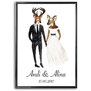 Personalisiertes Bild Reh Hochzeit | Hochzeitsgeschenk Geschenkidee