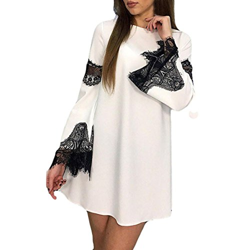 BURFLY Damen Kleid Womens Lace Splicing Mode Sexy Kleid Damen Abend Party Minikleid über Knie Gerade Lässig Sommerkleid (M, Weiß) (Shirt Der Stil Kleid 1950er Jahre)