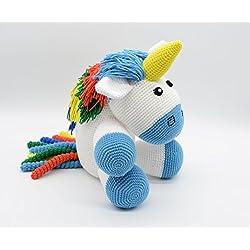 Navidad Juguete de peluche de unicornio, bebé Amigurumi azul, regalo de peluche, felpa de arcoiris para los más pequeños