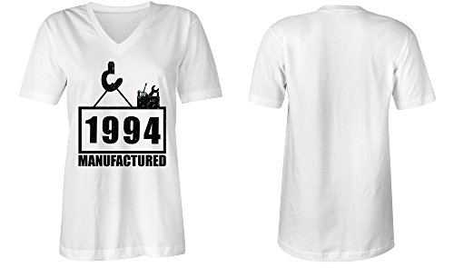 Manufactured 1994 - V-Neck T-Shirt Frauen-Damen - hochwertig bedruckt mit lustigem Spruch - Die perfekte Geschenk-Idee (02) weiss