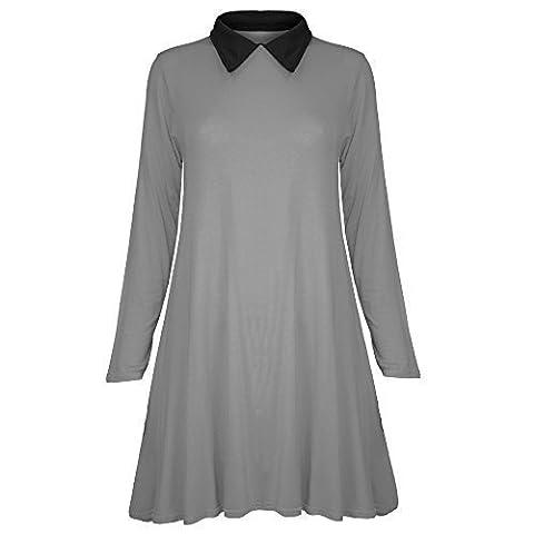 Pure Fashion - Haut Robe Femme Évasé Manche Longue Col Uni Décontracté - Grande Taille 44-46, Mauve robe trapèze fille mode décontractée