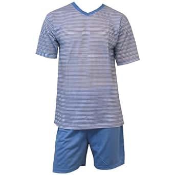 Herren Schlafanzug Shorty kurz im Streifenlook 2tlg 4751 in verschiedenen Farben, Farbe:hellblau/weiß gestreift;Größe:M