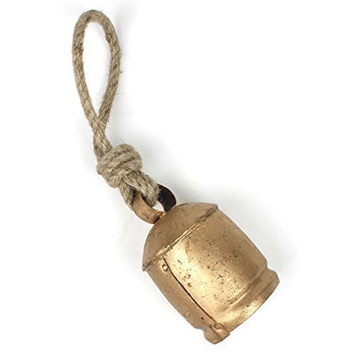 geschoben Rustikal groß Vintage indischen Kuh Glocken auf Rope-Wall Aufhängen Decor-fair Trade, Metall, Gold, 10x 15x 10cm ()