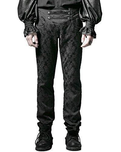 Punk Rave Caballeros Pantalones Pantalones Negro Brocado Gótico Steampunk Aristocrat Regencia - Negro, Medium