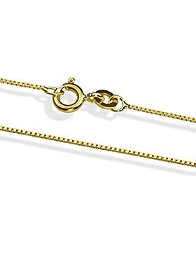 14 Karat / 585 Gold Italienisch Venezianer Box Kette Gelbgold Unisex - Breite 1 mm - verschiedene Längen