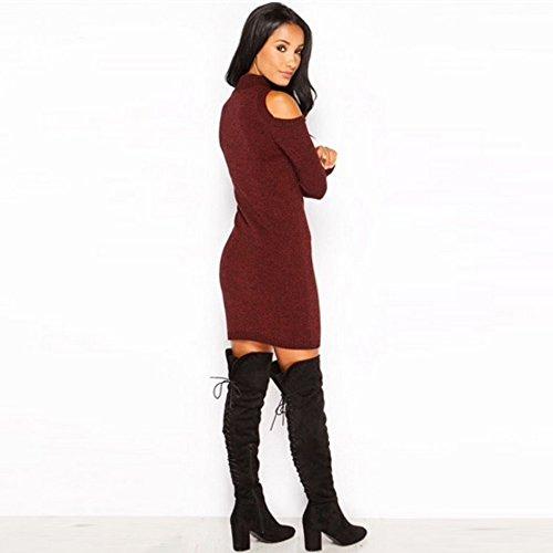 Aelegant Damen Winter Herbst reizvolles Strickpullover Minikleid Schulterfrei Hoch Kragen Bodycon Strickkleid Partykleid Einfarbig Weinrot
