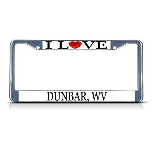 Nummernschild Rahmen I LOVE Herz Dunbar WV Aluminium Metall Nummernschild Rahmen silber